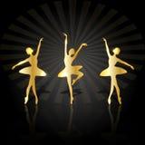 Gouden ballerina's die op het stadium dansen royalty-vrije illustratie