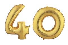 Gouden Ballon Veertig Royalty-vrije Stock Foto's