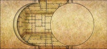 Gouden bankkluis met de achtergrond van het deur open, vlakke metaal royalty-vrije illustratie