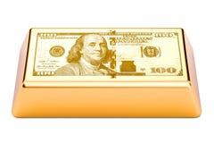Gouden bar met de dollar van de V.S., het 3D teruggeven Royalty-vrije Stock Afbeeldingen
