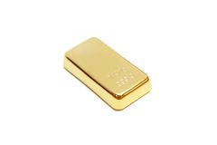 Gouden bar op witte achtergrond Stock Foto