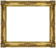 Gouden barok die Kader op witte achtergrond wordt geïsoleerd Stock Foto