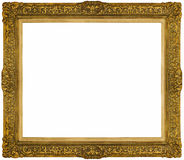 Gouden barok die Kader op witte achtergrond wordt geïsoleerd Stock Fotografie
