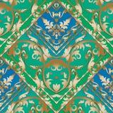 Gouden Barok gestreept naadloos patroon Blauwe en groene bloemenvec Royalty-vrije Stock Afbeelding