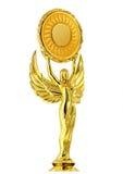 Gouden beeldje van de godin van overwinning Nike stock fotografie