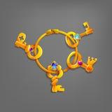 Gouden beeldverhaalsleutels vector illustratie