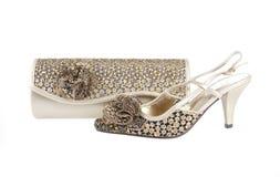 Gouden beurs en schoen Stock Foto