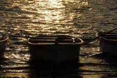 Gouden bezinningen over het meer stock afbeelding