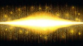 Gouden binaire abstracte achtergrond met heldere uitstraling in de digitale ruimte, gloeiende wolk van grote gegevens royalty-vrije illustratie