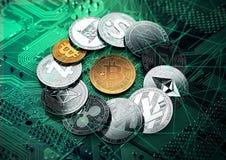 gouden bitcoin binnen reusachtige stapel cryptocurrencies royalty-vrije illustratie
