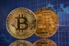 Gouden Bitcoin Cryptocurrency Stock Foto's