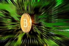 Gouden Bitcoin Cryptocurrency op kringsraad Stock Fotografie
