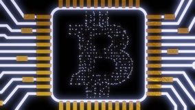 Gouden bitcoin digitale munt, futuristisch digitaal geld, het concept van het technologiewereldwijde netwerk Stock Afbeeldingen