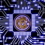 Gouden bitcoin digitale munt, futuristisch digitaal geld, het concept van het technologiewereldwijde netwerk Royalty-vrije Stock Foto