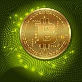 Gouden bitcoin digitale munt, futuristisch digitaal geld, het concept van het technologiewereldwijde netwerk, vectorillustratie stock illustratie