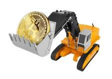 Gouden Bitcoin in een graafwerktuig stock foto's