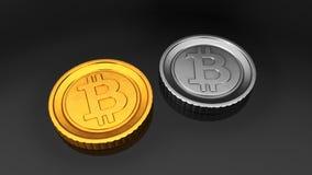 Gouden Bitcoin en Zilveren Bitcoin Royalty-vrije Stock Fotografie