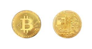 Gouden bitcoin fysiek die muntstuk op wit wordt geïsoleerd stock foto
