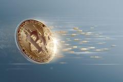 Gouden bitcoin met digitale effect achtergrond Royalty-vrije Stock Fotografie