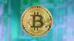Gouden Bitcoin over verre motherboard stock afbeeldingen
