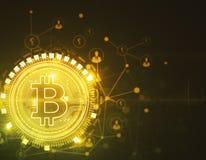 Gouden bitcoinachtergrond Royalty-vrije Stock Afbeeldingen