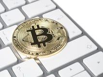 Gouden bitcoincrypto Stock Afbeelding