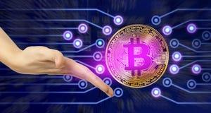 Gouden bitcoinmuntstuk Stock Foto's