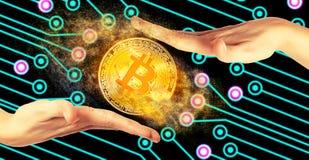 Gouden bitcoinmuntstuk Royalty-vrije Stock Afbeeldingen