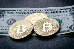 Gouden bitcoinmuntstukken op een document dollarsgeld en een donkere achtergrond met zon Virtuele munt Crypto munt nieuw virtueel Royalty-vrije Stock Afbeeldingen