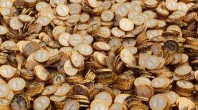 Gouden Bitcoins Royalty-vrije Stock Foto's
