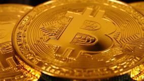 Gouden Bitcoins-Geld stock video