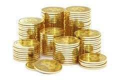 Gouden Bitcoins, het 3D teruggeven Royalty-vrije Stock Foto's