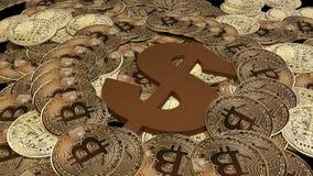 Gouden Bitcoins nieuw virtueel geld het 3d teruggeven Stock Fotografie