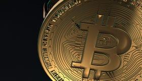 Gouden Bitcoins, nieuw virtueel geld op diverse digitale 3D achtergrond, geeft terug Royalty-vrije Stock Foto's