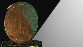 Gouden Bitcoins, nieuw virtueel geld op diverse digitale 3D achtergrond, geeft terug Royalty-vrije Stock Afbeeldingen