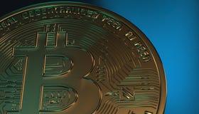 Gouden Bitcoins, nieuw virtueel geld op diverse digitale 3D achtergrond, geeft terug Stock Foto