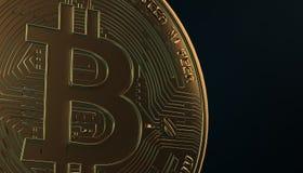 Gouden Bitcoins, nieuw virtueel geld op diverse digitale 3D achtergrond, geeft terug Stock Fotografie