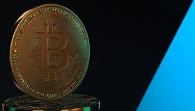 Gouden Bitcoins, nieuw virtueel geld op diverse digitale 3D achtergrond, geeft terug Stock Afbeeldingen