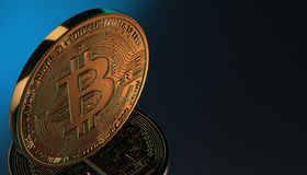 Gouden Bitcoins, nieuw virtueel geld op diverse digitale 3D achtergrond, geeft terug Stock Afbeelding