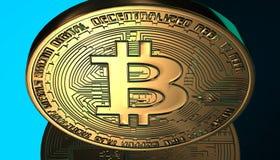 Gouden Bitcoins, nieuw virtueel geld op diverse digitale 3D achtergrond, geeft terug Royalty-vrije Stock Foto