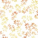 Gouden bladeren Het naadloze patroon van de Watercolourherfst, leuk ontwerp Stock Foto