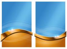 Gouden Blauwe Abstracte Achtergrond Stock Foto's