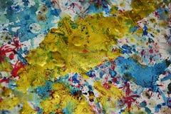 Gouden blauwe de waterverf creatieve achtergrond van de plonsenverf Royalty-vrije Stock Foto's