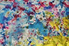 Gouden blauwe roze de waterverf creatieve achtergrond van de plonsenverf Royalty-vrije Stock Foto
