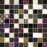 100 gouden bloem en geometrische patroonreeks Royalty-vrije Stock Fotografie
