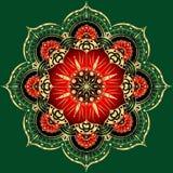 Gouden Bloem Mandala Uitstekende decoratieve elementen Oosters patroon, illustratie Islam, Arabisch, Marokkaanse Indiër, Spanje, Stock Fotografie