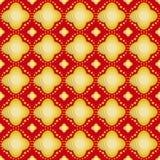 Gouden bloem op rode naadloze patronen als achtergrond Royalty-vrije Stock Fotografie