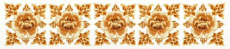 Gouden Bloem van het Naadloze Patroon van de Streep Stock Foto