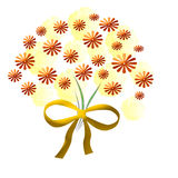 Gouden bloemboeket Stock Foto