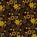 Gouden bloemen in een naadloos rijk patroon royalty-vrije illustratie
